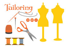 Set of sewing tools icons Royalty Free Stock Photo