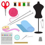 Set of sewing. Tools for sewing. Isolated objects on white background royalty free illustration