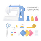 Set of sewing tools. Sewing  Machine, pins, needles and buttons, scissors, spool of thread. Vector illustration in flat style Stock Images