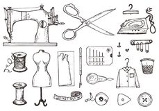 Set of sewing tools and materials or elements for needlework. Handmade equipment. Tailor shop for labels, badgess vector illustration