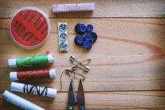 Set of sewing tools Stock Images