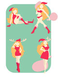 Set of sexy blonde girl dressed as Santa Claus vector illustrati Stock Image