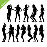 Sexy woman silhouettes vector. Set of sexy and dance woman silhouettes vector Royalty Free Stock Photography