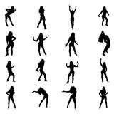 Set of sexy dancer shapes. Set of sexy dancer womnen shapes silhouettes Stock Image