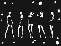 Set sexy girl in dance circles background monochrome.  Stock Images