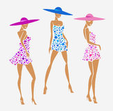 Set sexy girl photo in a dress and big hat Royalty Free Stock Photos