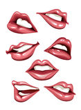 Set of sexy lips Stock Photos