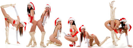 Set of sexy Santas girls Royalty Free Stock Image