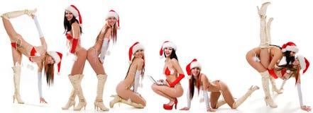Set of sexy Santas girls Royalty Free Stock Image