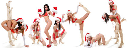 Set of sexy Santas girls Stock Photos
