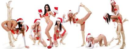Set of sexy Santas girls Stock Photos