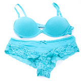 Set of sexy turquoise blue lingerie Stock Images