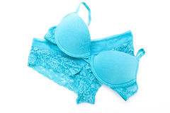 Set of turquoise blue lingerie Royalty Free Stock Photography