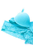 Set of sexy turquoise blue lingerie Royalty Free Stock Images