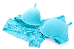 Set of sexy turquoise blue lingerie Stock Image