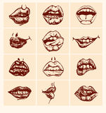 Set of  sexy woman lips. Royalty Free Stock Images