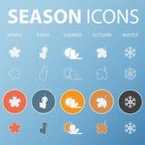 Set sezon ikony w płaskim projekta konturze, cieniu i długo wektor Zdjęcie Royalty Free