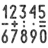 Set of shabby numbers and mathematical symbols Stock Image