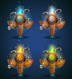 Set shaman totems - symbols of the four elements Royalty Free Stock Photos