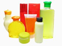 Set of shampoo bottles body creme shower gel Stock Image