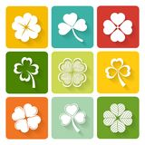 Set of shamrock and clover icons. On colorful square buttons conceptual of the Irish and good luck Royalty Free Stock Photo