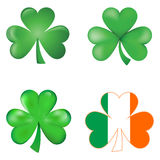 Set of Shamrock - Three leaves cloves. An Illustration of three shamrock symbol of Ireland and Saint Patrick. Ideal for St Patrick day at 17th of march. Three vector illustration