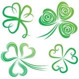 Set of shamrocks. Set of green shamrock. Group of clover vector. St. Patricks Day. Irish illustration stock illustration