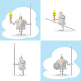 A set of  shapes funny medieval knight with a spear and a torch in the hands  on white background. A set of  shapes funny toy medieval knight with a spear and a Royalty Free Stock Image