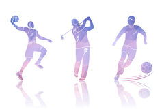 Set Shapes Golfers, Football and Basketball Stock Images