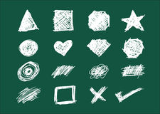 Set of Shapes, Icons and Scratches in Chalkboard style handsketch illustration Royalty Free Stock Photos
