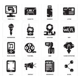 Set of Share, Newspaper, Tablet, User, Music player, Location, Microphone, Pendrive, Video call icons. Set Of 16 simple  icons such as Share, Newspaper, Protest Royalty Free Stock Photography