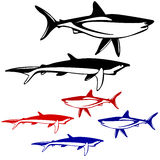 Set shark,  black and white outline. Vector Royalty Free Stock Photos
