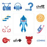 Set of shark mascot, compas, boars head, afro, bull, cricket, umbrella, golden rose, level up icons. Set Of 13 simple editable icons such as shark mascot, compas Royalty Free Stock Photography