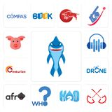 Set of shark mascot, umbrella, h2o, who, afro, drone photography, centurion, audio visual, pig face icons. Set Of 13 simple editable icons such as shark mascot Royalty Free Stock Photo