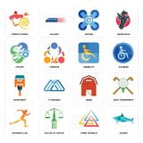 Set of sharks, three triangle, running club, barn, home paint, disability, cyclist, drones, confectionery icons. Set Of 16 simple editable icons such as sharks Stock Images