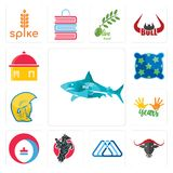Set of sharks, , 3 triangle, equestrian, heating cooling, 10 years, warrior head, pillow, homemade food icons. Set Of 13 simple editable icons such as sharks Stock Photography