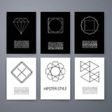 Set of sharp mistical line logos. Vector line logos and icons. Line design elements for invitations and greeting cards. Vector emblems and badges. Abstract Stock Illustration