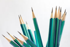 Set of sharpened green pencils Stock Photo
