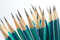 Set of sharpened green pencils Royalty Free Stock Photos