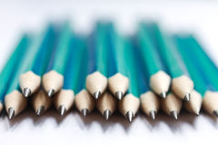 Set of sharpened green pencils Royalty Free Stock Photo