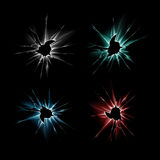Set of Shattered Glass Window with Sharp Edges. Vector Set of Blue Red Green Broken Shattered Crack Glass Window Crack with Sharp Edges Close up on Dark Black royalty free stock image