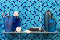Set for shaving on bathroom shelf Royalty Free Stock Photo