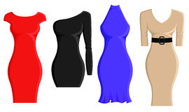 Set of sheath dresses. In different styles and color vector illustration