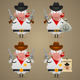 Set sheep cowboy in different poses Royalty Free Stock Image