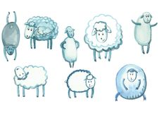 Set of sheep in different poses Stock Photos