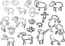 Set sheep doodle - line decor element Royalty Free Stock Photos