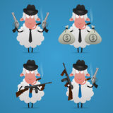 Set sheep gangster in different poses Stock Image