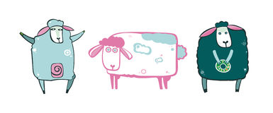 Set of sheeps. Vector set of sheeps- animal cartoon characters. To see more cute cows and sheeps, please visit my gallery Royalty Free Illustration