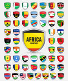 Set of sheets with the flags of the countries of the African con Royalty Free Stock Image