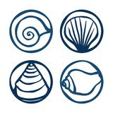 Shell stamps. Set of shell stamps - illustration Royalty Free Stock Photos